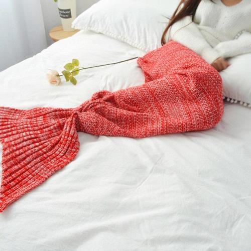 7 Colors Mermaid Tail Blanket Crochet Mermaid Blanket for Adult Super Soft All Seasons Sleeping Knitted Blankets 90x180cm