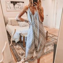 EBUYTIDE Sexy Striped Sling Loose Jumpsuit