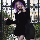 Goth Dark women dress hollow out pentagram flare sleeve harajuku velvet mini dress girl cool dress streetwear punk rock dress