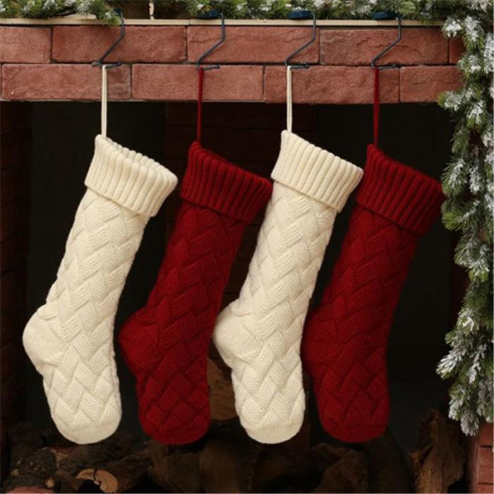 Solid color knitted Christmas socks