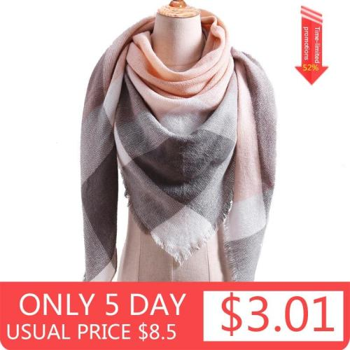 2020 Winter Warm Plaid Triangle Cashmere scarf for women Striped Blanket knitted shawl and Wraps Pashmina Female foulard