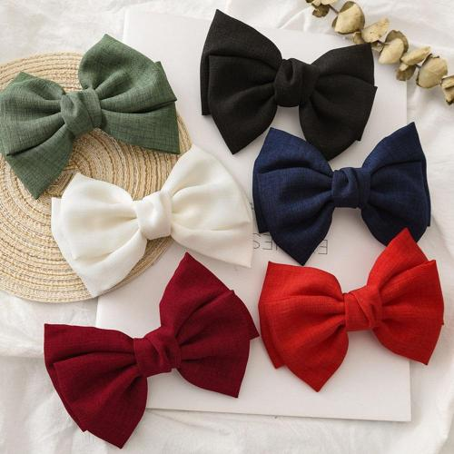 Vintage Fashion Linen Oversized Bow Hair Clip Korean Headwear Ponytail Clip Simple Fabric Woman Head Flower Gift