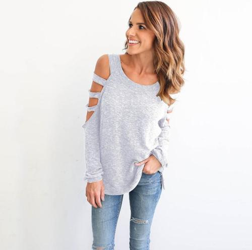 Pure Color Cut Out Long Sleeves Blouse