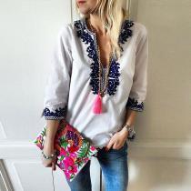 Fashion V-Neck Ethnic Style Print Blouse