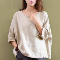 Loose Cotton and Linen Shirt