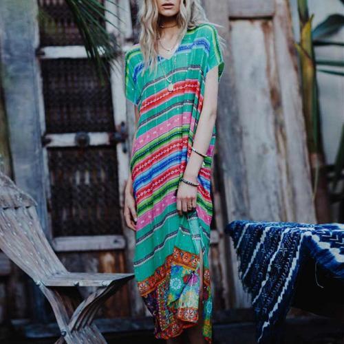 Elegant Printed Colour V Neck Short Sleeve Dress