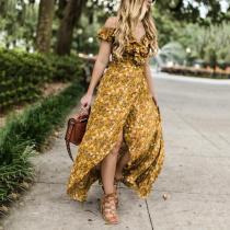 Elegant V Neck Ruffled Bare Back Off-Shoulder Floral Pattern Dress
