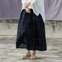 Vintage Plaid Linen Skirt