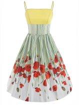 1950s Floral Print Pactchwork Dress