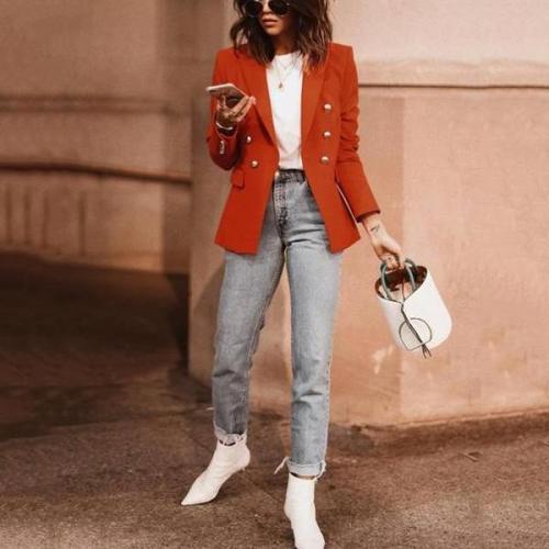 Autumn and winter   fashion pure color suit jacket
