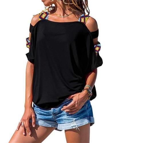 Women's Solid Color Cutout Short Sleeve Strapless T-shirt Top