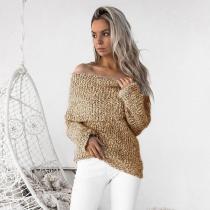 Off Shoulder Long Sleeves Slim Long Sweater