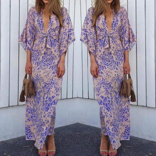 Fashion V Neck Belted Waist Printed Colour Maxi Dresses