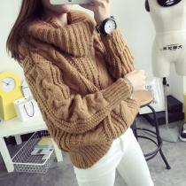 Fashion Turtle Neck Pullover Twist Knitting Sweater