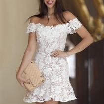 Sexy Boat Neck Hollow Out Lace See-Through Dress