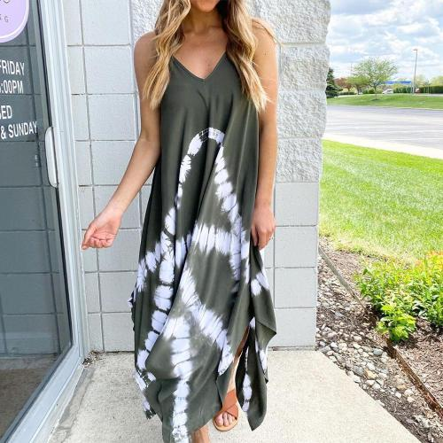 New Tie-Dye Sleeveless V-Neck Maxi Dress