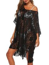 Fashion Solid Lace Bikini Sunscreen Loose Cover Up