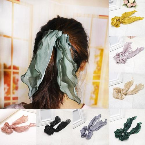 Solid Color Satin Long Ponytail Hair Ties Streamers Scrunchies Women Elastic Hair Bands Ribbon Bands Girls Cute Hair Accessories