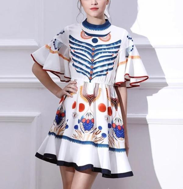 Short Sleeve Boho Printing Ruffled Mini Dress