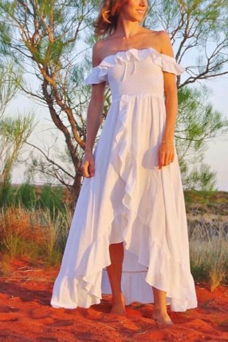 Maxi Dress, Boho Dress, Beach Dress,  Off Shoulder , White Cloud