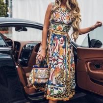 Dreamlip Flash Sale Round-Necked Sleeveless Vintage Print Maxi Dress
