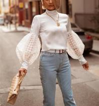 Autumn Fashion Pure Color Lace Bubble Sleeves Blouse
