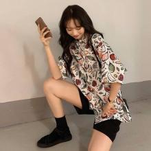 Women Loose Hip-hop Streetwear Shirt Beach Style Hawaii Print Button Down Harajuku Tops Oversized Blouse
