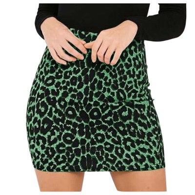 Women's Leopard Printed Skirt High Waist Sexy Pencil  Hip Mini Skirts