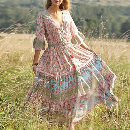 Bohemian Halflong Sleeve V Neck Printed Colour Maxi Dresses