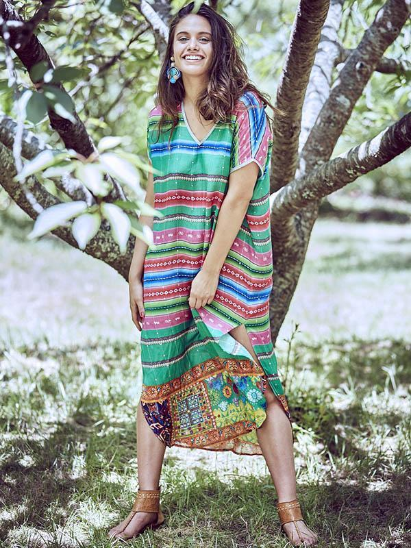 V-neck Multicolor Stripes Short Sleeves Cover-Ups