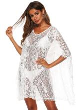 Sexy Solid White Loose Beach Lace Cover-Up