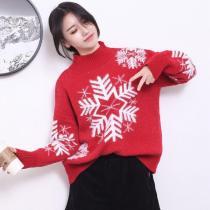 Christmas Snow Mock Neck Sweater
