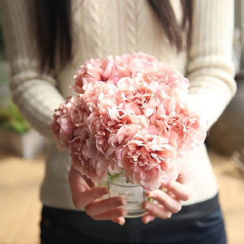 1 Bouquet 5 Heads Artificial Silk Peony Flowers Wedding Hydrangea Flowers For Bride Home Party Valentines day Decoration