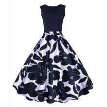 EBUYTIDE Summer Vintage V-Neck Floral Printed Sleeveless Skater Dress