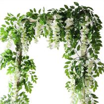 2M Flower String Artificial Wisteria Vine Garland Plants Foliage Wedding Arch Decoration Fake Flower Rattan Hanging Wall Decor