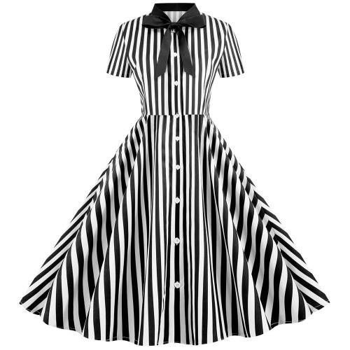 Striped Vintage Women Summer Dress 2020 Robe Femme 50s 60s Pin Up Party Rockabilly Dress Knee-Length Bow Swing Office Clothing