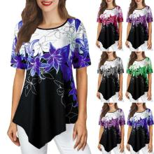 Women's Round Neck Loose-fitting Irregular Printed Short-sleeved T-shirt Top