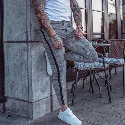 Men's Fashion Lattice Slim Fit Trousers