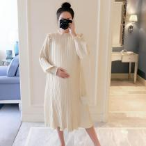 New Spring Maternity Dresses Fashion Chiffon Pleated Long Pregnancy Dress 2020 Casual Loose Maternity Clothes For Pregnant Women