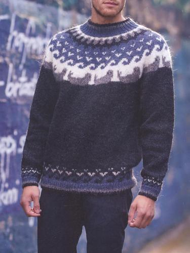 Black Wavy Knit Icelandic Sweater TT004