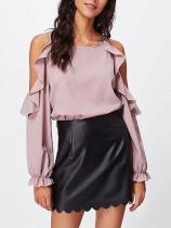 Fashion Round Neck Off-Shoulder Ruffled Shirt