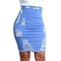 Hole Tassel Denim Skirt Women Summer 2019 High Waist Sexy Fashion Bodycon Pencil Vintage Destroyed Solid Blue Ladies Short Skirt