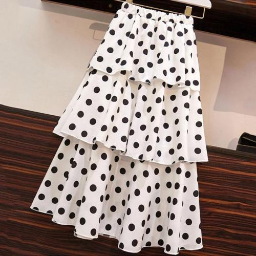 2020 Summer Women Midi Skirts Korean Boho Bohemian Ruffles Ladies Beach Holiday Polka Dot Layer Flare Pleated Skirt For Women