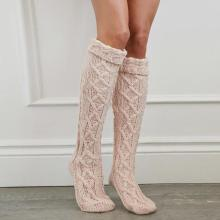 Pure Color Warm Long Stack Knit Socks Middle Tube Over The Knee