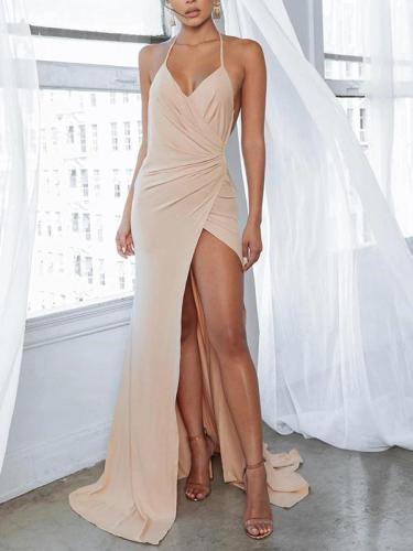 Sexy V-neck Sling Split Bodycon Dress