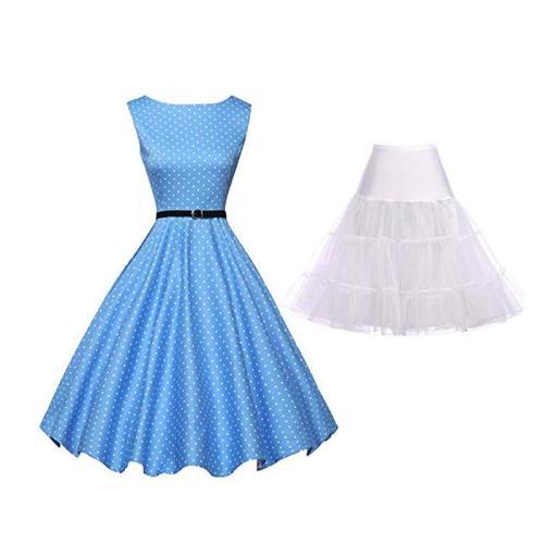 Women 50s Sleeveless Belt Retro Red Dress White Black Polka Dots Vintage 60s Rockabilly Swing Pink Up Gala Dresses Petticoat