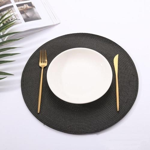 1pc Table Round Placemat Weave PP Dining Napkin Mats Bowl Pad Hotel Cutlery Table Decoration Tray Mat Braided Style Placemat