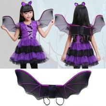 Child Anime Cosplay Cute Bat Wing Costume Kids Halloween Costumes For Girls boys Black Wings Cosplay Halloween Party Costume