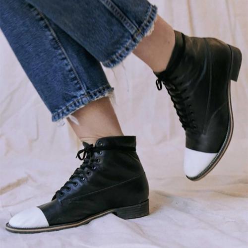 Women's Fashion Colorblock Martin Boots