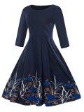 1950s Floral 3/4 Sleeve Dress